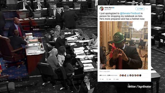 Helmpflicht? Reporter-Notizbuch attackiert US-Senator